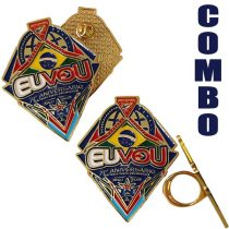 """COMBO - Pin e Arganel 71 anos """"EU VOU"""" - DBV-1136956419"""